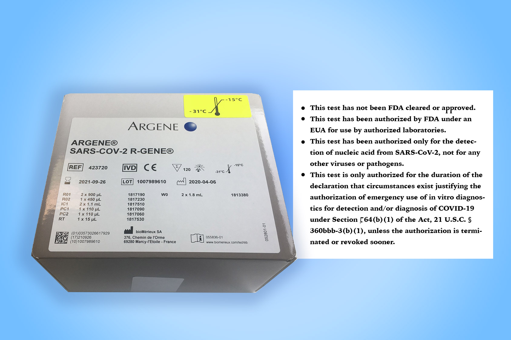 Argene SARS-CoV-2 R-GENE / Manufacturer: BioMérieux SA.Product Page | Health Care Professional Fact Sheet | Patient Fact Sheet  | Instructions for use (IFU)